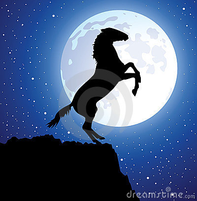 vector horse on top of the mountain and a moon