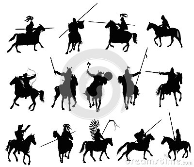 Vector horsemen isolated