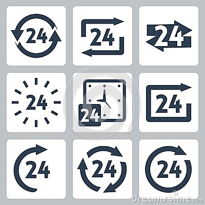 Vector  24 hours  icons set