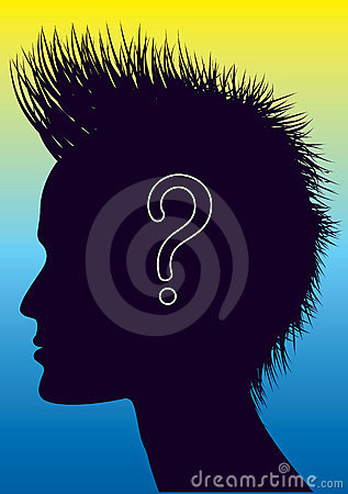 Vector human head with question mark.
