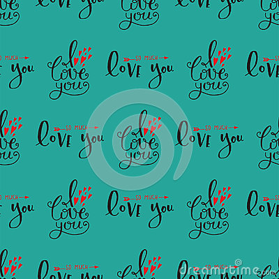 Free Vector I Love You Text Seamless Pattern Hand Drawn Lettering Collection Inspirational Lover Quote Illustration. Royalty Free Stock Photos - 97581438