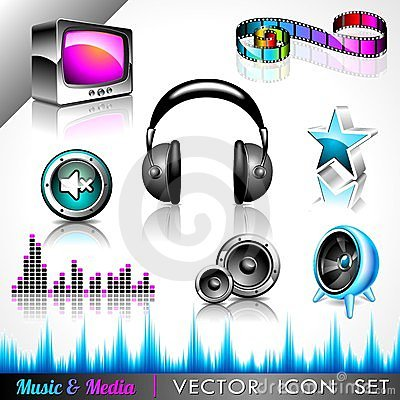Vector icon collection on a music theme.