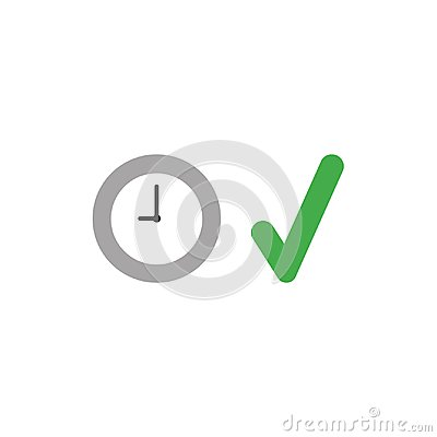 Free Vector Icon Concept Of Clock Time With Check Mark Stock Photo - 112674810