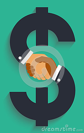 Free Vector Icon Handshake On Money Sign. Stock Image - 68634071