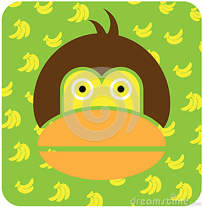 Vector icon illustration of cute animal, monkey