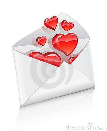 Vector icon mail envelope opened with love hearts