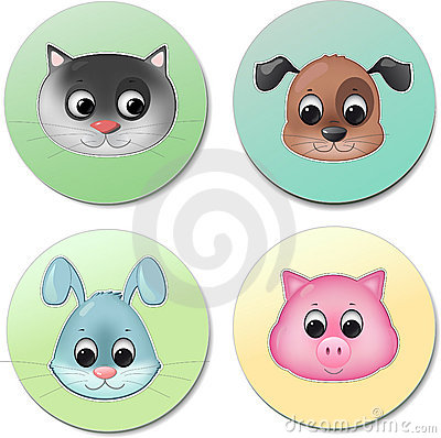 Vector icon set of cute animal faces smiling