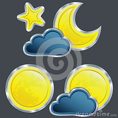 Vector Icon weather night with moon and star