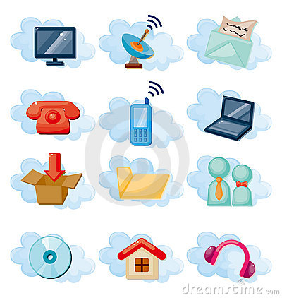 Vector Icons For Cloud Network Royalty Free Stock Image - Image: 21979416