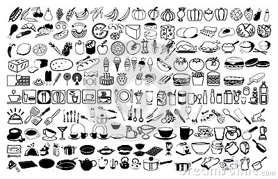 Vector icons of food Vector Illustration