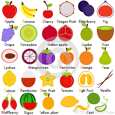 Vector Icons of Fruit with Alphabet A to Z