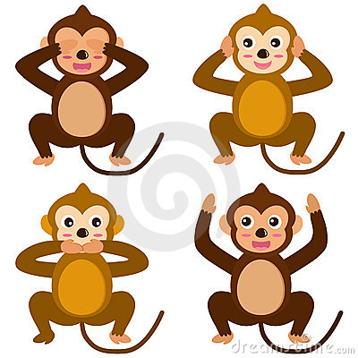 Vector Icons : Monkey - See Hear Speak No Evil