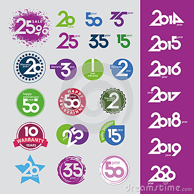 Vector icons with numbers dates anniversaries