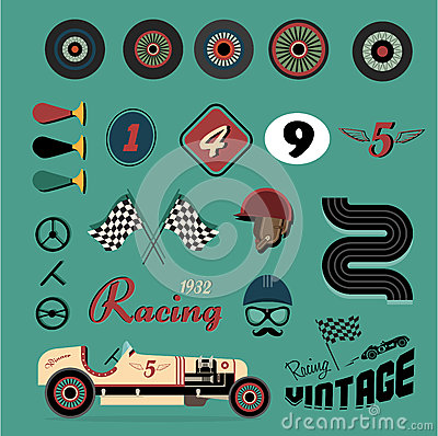 Free Vector Icons Of Vintage Car Racing Stock Images - 25500484