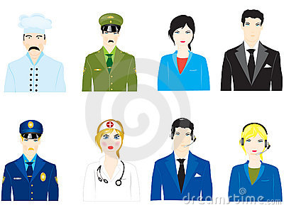 Vector icons of the people varied profession