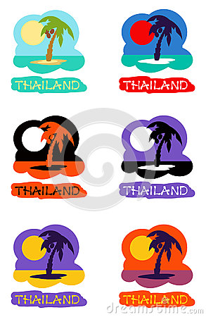 Vector icons set palm tree emblems Vector Illustration