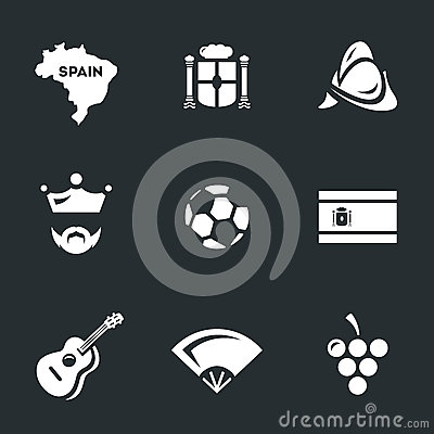 Vector Icons Set of Spain. Vector Illustration