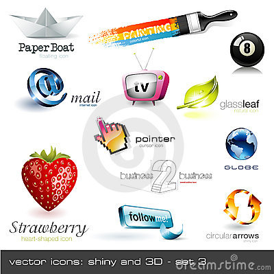 Vector icons: shiny and 3d - set 2