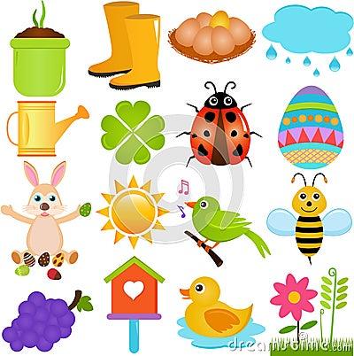 Free Vector Icons : Spring Season Theme Stock Photography - 27216942