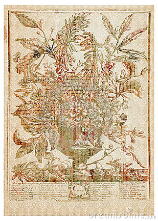 Vector il mazzo del fiore del Victorian in vaso con testo