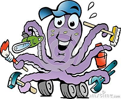 Vector illustratie van een Gelukkige Bezige Octopus