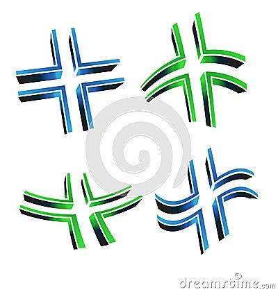 Vector illustration of 3D cross logo
