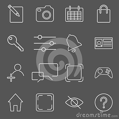 Vector illustration of apps icon set over linen texture Vector Illustration
