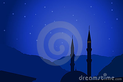 Vector illustration of Arabic night with mosque