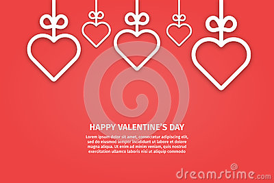 Vector illustration of banner valentines day concept in line style. Vector Illustration
