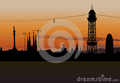 Barcelona skyline silhouette with sunset sky