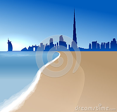 Vector illustration with beach and sea