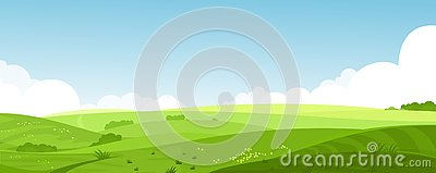 Vector illustration of beautiful summer fields landscape with a dawn, green hills, bright color blue sky, country Vector Illustration