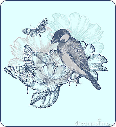 Vector illustration of a bird, blooming roses.
