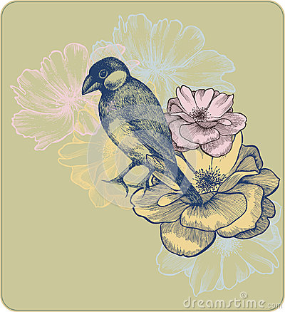 Vector illustration of birds and blooming roses.