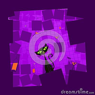 Vector illustration of a black cartoon cat