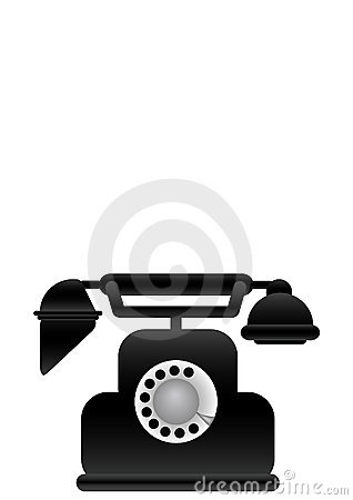 Vector illustration black classical phone