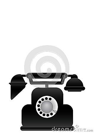 Vector illustration black classical phone