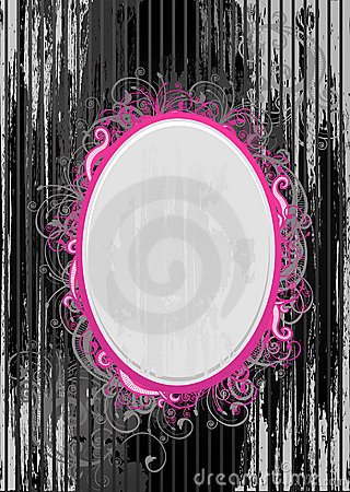 Vector illustration of black and pink frame