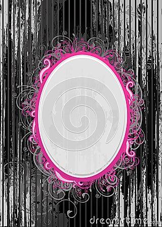 Vector illustration of black and pink frame