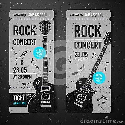 Free Vector Illustration Black Rock Concert Ticket Design Template With Black Guitar And Cool Grunge Effects In The Background Royalty Free Stock Photography - 107500587