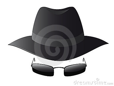 Vector illustration of black sun glasses and spy h