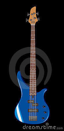 Vector illustration of blue bass guitar