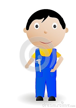Vector illustration the boy with the tool