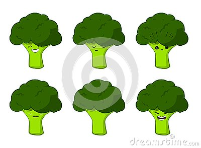 Vector illustration of an broccoli Cute cartoon vegetable vector character set isolated on white. Emotions. Stickers. kawaii Vector Illustration