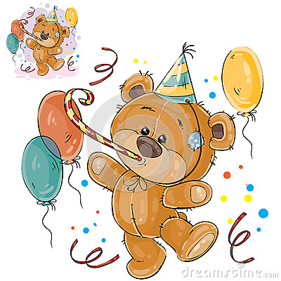 Vector illustration of a brown teddy bear in a cardboard hat and with a whistle surrounded by balloons Vector Illustration