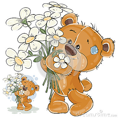Vector illustration of a brown teddy bear holding a bouquet of flowers in his paws. Vector Illustration
