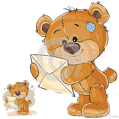 Vector illustration of a brown teddy bear holding in its paws received letter Vector Illustration