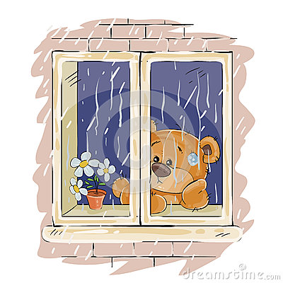 Vector illustration of a brown teddy bear looks out the window on the rain and sad Vector Illustration
