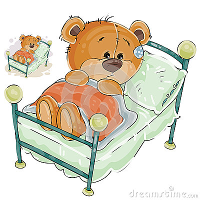 Vector illustration of a brown teddy bear misses and sad lies in bed Vector Illustration