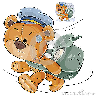 Vector illustration of a brown teddy bear postman hurrying, carrying a bag with letters Vector Illustration